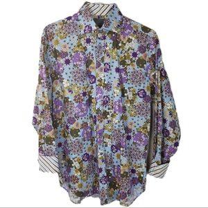THOMAS DEAN floral flip cuff button down Large